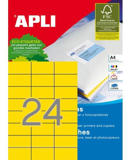 Etiketiniai lipdukai RILLPRINT 70x37 mm, A4, 24 lipd/lape, 20 lapų, geltonos sp.