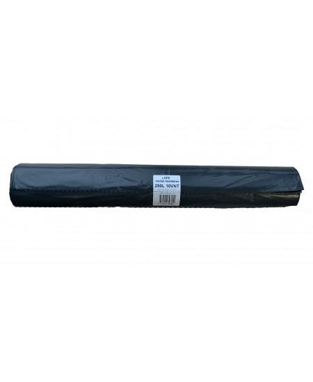 Šiukšlių maišai, 250 litrų, rulone 10 vnt., storis 40 µm, LDPE