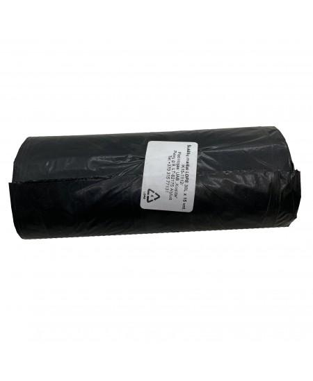 Šiukšlių maišai, 30 litrų, rulone 15 vnt., storis 20 µm, LDPE, juodos sp.