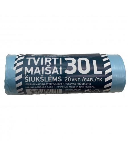 Šiukšlių maišai, 30 litrų, rulone 20 vnt., storis 12 µm, HDPE, mėlynos sp.