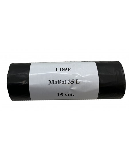 Šiukšlių maišai, 35 litrų, rulone 15 vnt., storis 20 µm, LDPE