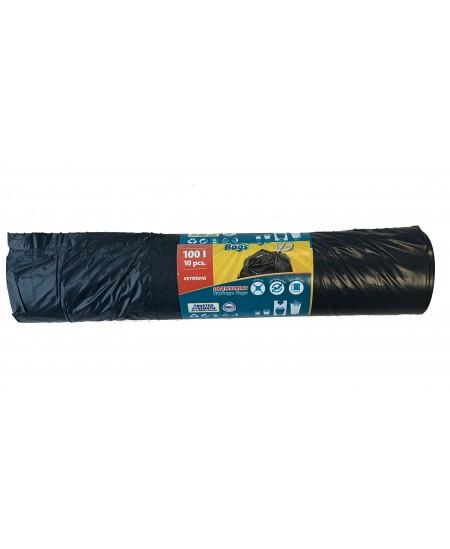 Šiukšlių maišai, užrišami, 100 litrų, rulone 10 vnt., storis 35 µm, LDPE