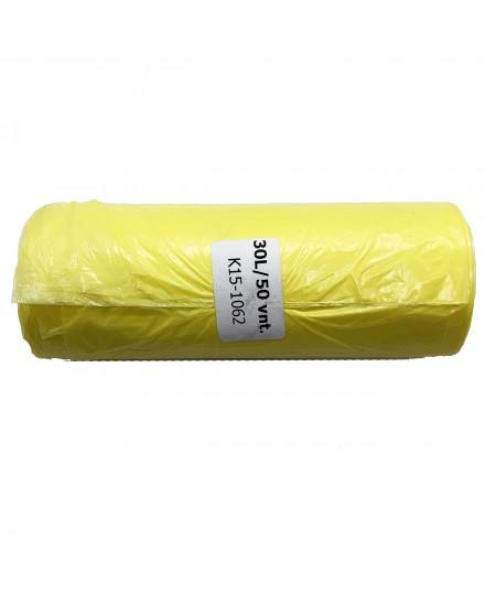 Šiukšlių maišai HDPE, 30 litrų, rulone 50 vnt., geltonos sp.