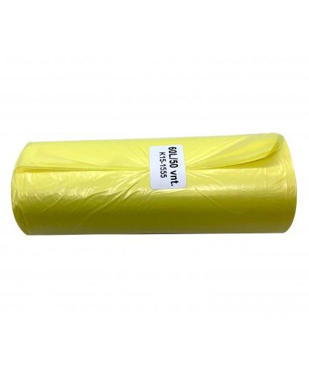 Šiukšlių maišai HDPE, 60 litrų, rulone 50 vnt., geltonos sp.