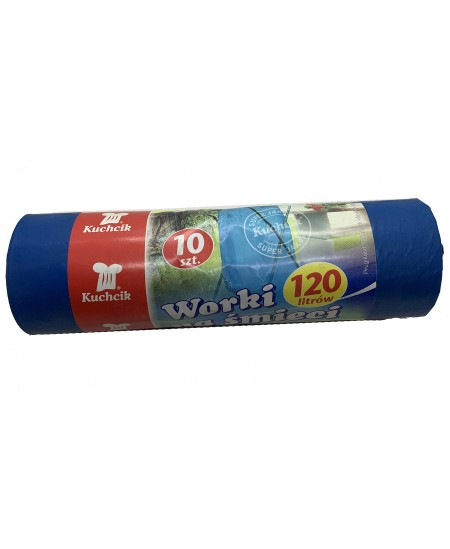 Šiukšlių maišai, 120 litrų, rulone 10 vnt., mėlynos sp.