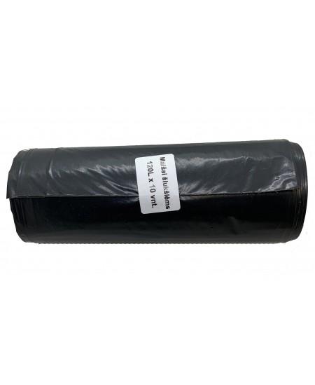 Šiukšlių maišai, 120 litrų, rulone 10 vnt., storis 30 µm, LDPE