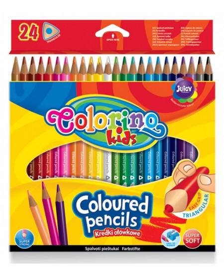Spalvoti pieštukai COLORINO, tribriauniai, 24 spalvų