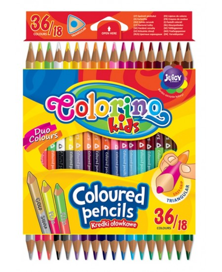 Spalvoti pieštukai COLORINO, tribiriauniai dvipusiai, 36 spalvų