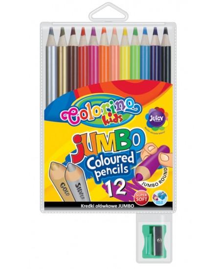 Spalvoti pieštukai COLORINO su drožtuku, apvalūs, 12 spalvų