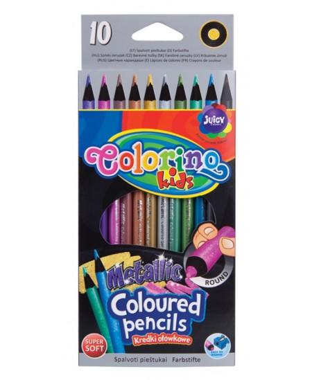 Metalizuoti spalvoti pieštukai COLORINO, 10 spalvų