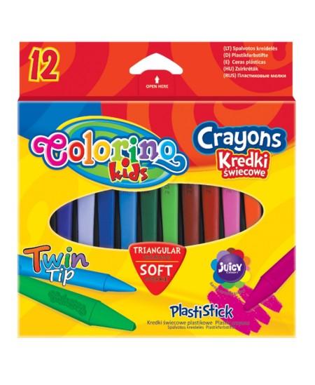 Spalvotos kreidelės COLORINO, tribriaunės, 12 spalvų
