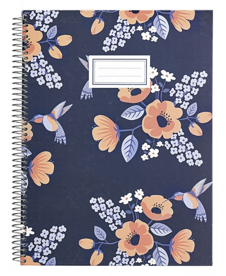 Sąsiuvinis B´LOG FLOWERS, A4, 80 lapų, langeliais, su spirale