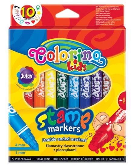Flomasteriai COLORINO, dvipusiai, su antspaudu, 10 spalvų