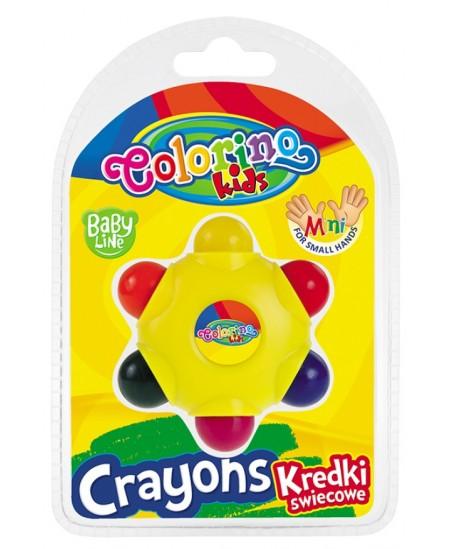 Spalvotos vaškinės kreidelės COLORINO Baby Line, 6 spalvų