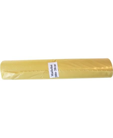 Šiukšlių maišai, 20 litrų, rulone 20 vnt., storis 20 µm, LDPE, geltonos sp.