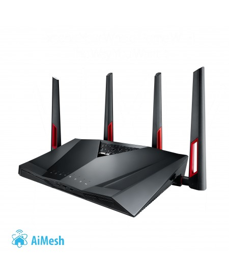 Asus Router RT-AC88U 802.11ac,  1000+2167 Mbit/s, 10/100/1000 Mbit/s, Ethernet LAN (RJ-45) ports 8, Mesh Support Yes, MU-MiMO Ye