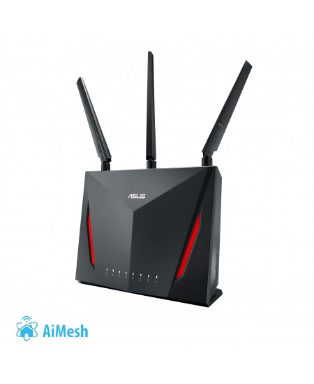 Asus Router RT-AC86U 802.11ac, 750+2167 Mbit/s, 10/100/1000 Mbit/s, Ethernet LAN (RJ-45) ports 4, Mesh Support Yes, MU-MiMO Yes,