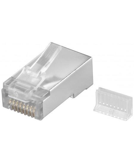 Goobay 68079 RJ45 plug, CAT 5e STP shielded, transparent