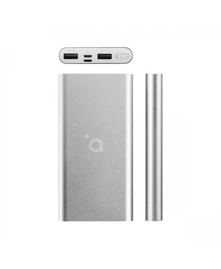 Acme Power bank PB15S 10000 mAh, Silver, 2 USB ports, Aluminium, Li-polymer