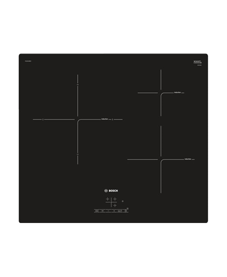 Bosch Hob  PUJ611BB1E Induction, Number of burners/cooking zones 3, Black, Display, Timer