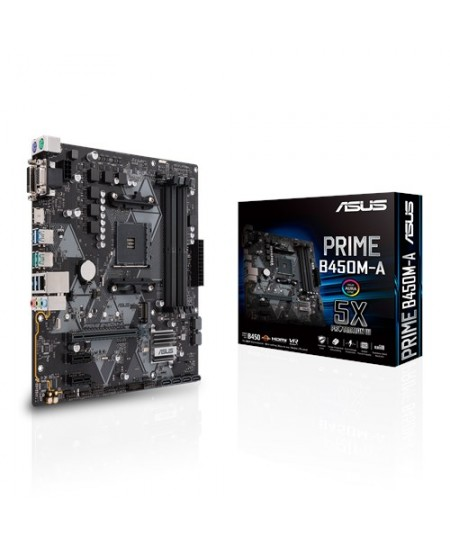 Asus PRIME B450M-A Processor family AMD, Processor socket AM4, Memory slots 4, Chipset AMD B, Micro ATX