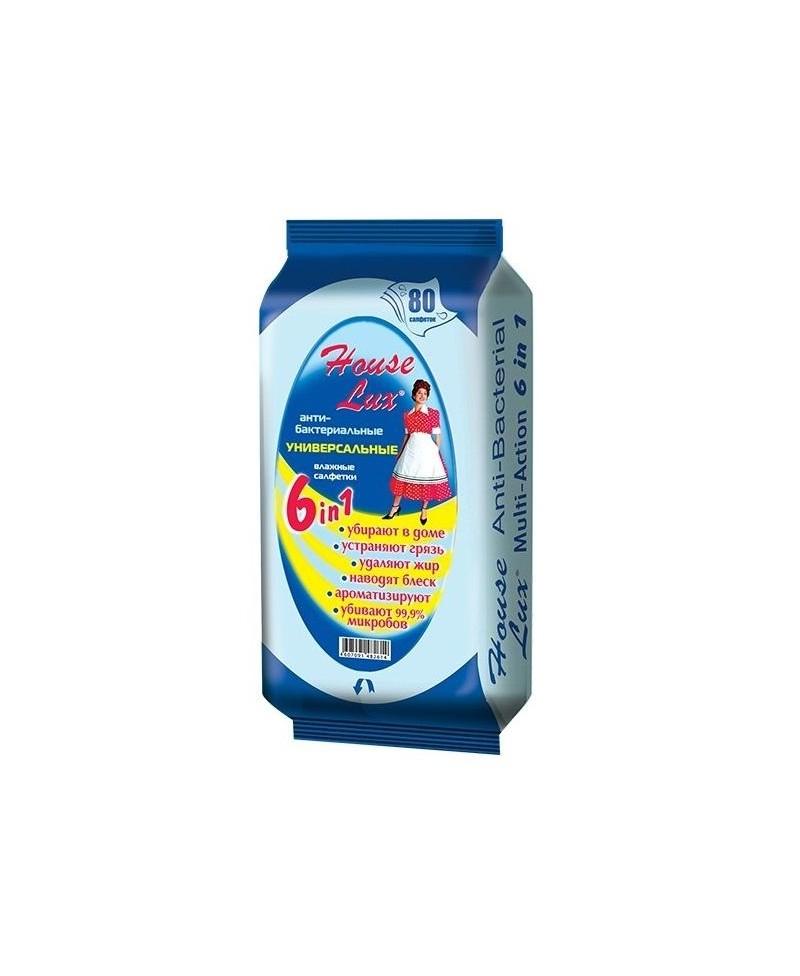 Universalios drėgnos servetėlės HOUSE LUX 6in1, antibakterinis efektas, 80 vnt.