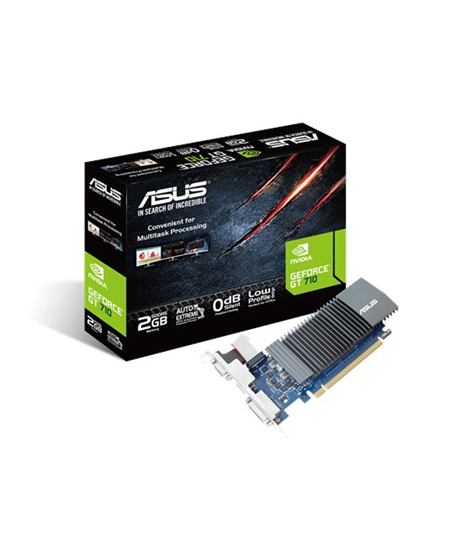 Asus NVIDIA, 2 GB, GeForce GT 710, GDDR5, PCI Express 2.0, Cooling type Passive, Processor frequency 954 MHz, DVI-D ports quanti
