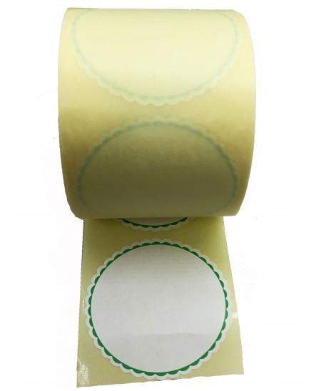 Notariniai lipdukai, balti su žaliu kontūru, 500 vnt. rulonėlyje