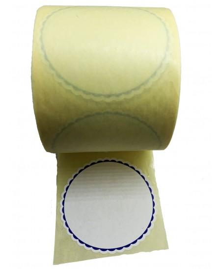 Notariniai lipdukai, balti su mėlynu kontūru, 500vnt. rulonėlyje
