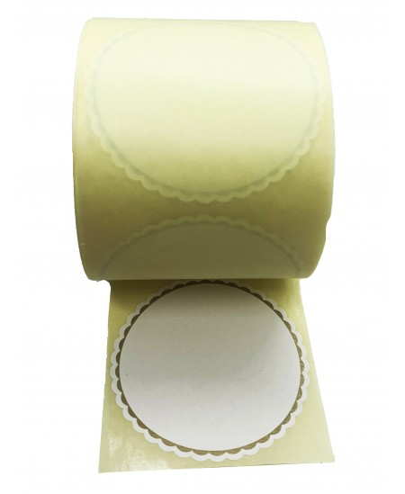 Notariniai lipdukai, balti su auksiniu kontūru, 500 vnt. rulonėlyje