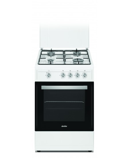 Simfer Cooker 4401SGRBB Hob type Gas, Oven type Gas, White, Width 50 cm, 49 L, Depth 55 cm