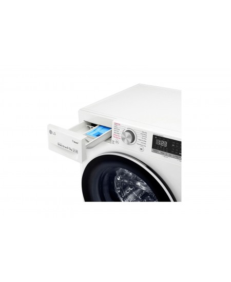LG Washing machine F4DN409N0 Front loading, Washing capacity 9 kg, Drying capacity 5 kg, 1400 RPM, Direct drive, A, Depth 56 cm,