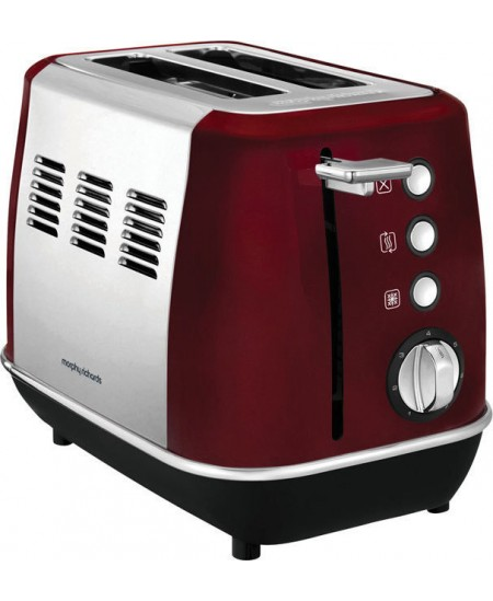 Morphy richards Evoke Toaster 224408 Power 850 W, Number of slots 2, Housing material Stainless steel, Red with stainless steel