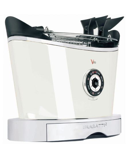 Bugatti Volo Toaster 13-VOLOC1 White, Steel, 930 W, Number of slots 2, Number of power levels 6, Bun warmer included