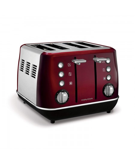 Morphy richards Evoke Toaster 240108 Power 1800 W, Number of slots 4, Housing material Stainless steel, Red with stainless steel