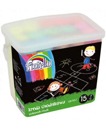 Kreida piešti ant asfalto FIORELLO, 15 vnt., įvairių spalvų