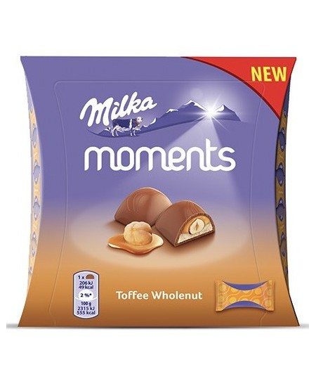 Saldainių dėžutė MILKA Moments Toffee Whole Nut, 97g