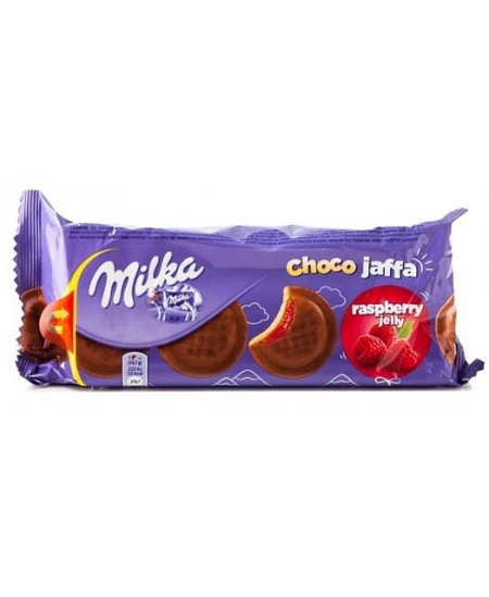 Sausainiai MILKA Jaffa, su aviečių skonio įdaru, 147 g