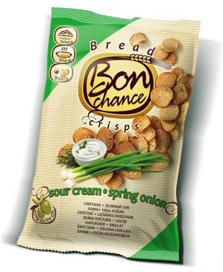 Duonos traškučiai BON CHANCE grietinėlės ir svogūnų skonio, 120 g