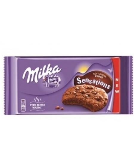 Kakaviniai sausainiai MILKA Choco, su pieninio šokolado gabalėliais, 156 g