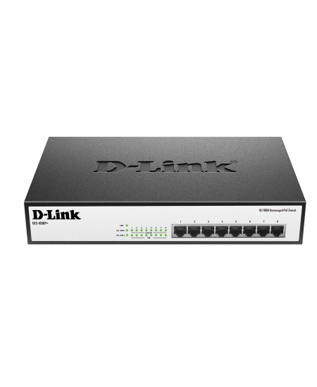 D-Link Switch DES-1008P+ Unmanaged, Desktop, 10/100 Mbps (RJ-45) ports quantity 8, PoE ports quantity 8, Power supply type Singl