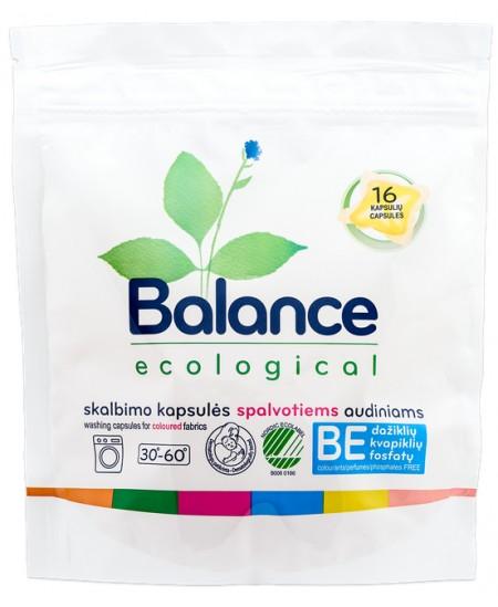 Ekologiškos skalbimo kapsulės BALANCE, spalvotiems audiniams, 16 vnt.