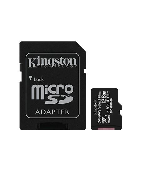 Kingston Canvas Select Plus UHS-I 128 GB, MicroSDXC, Flash memory class 10, SD Adapter