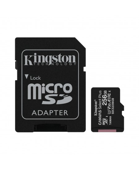 Kingston Canvas Select Plus UHS-I 256 GB, MicroSDXC, Flash memory class 10, SD Adapter
