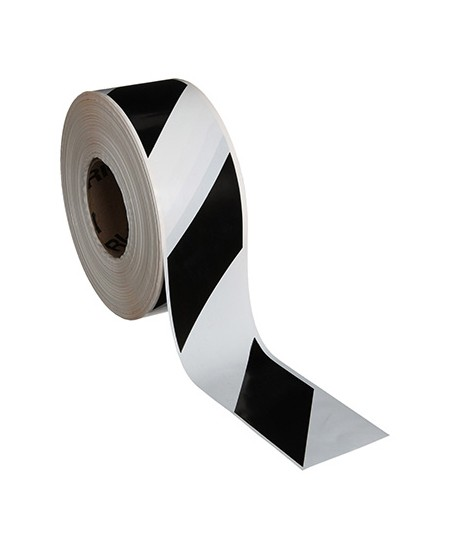 Lipni ženklinimo juosta grindims, 50 mm x 30m, balta/juoda