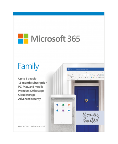 Microsoft 365 Family 6GQ-01164 Up to 6 People, License term 1 year(s), Russian, Medialess, P6