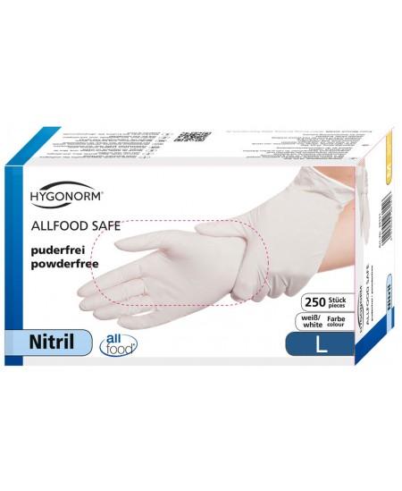 Vienkartinės nitrilinės pirštinės HYGONORM Allfood Safe, L dydis, baltos, 250 vnt.