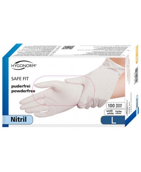 Vienkartinės nitrilinės pirštinės HYGONORM Safe Fit, L dydis, baltos, 100 vnt.