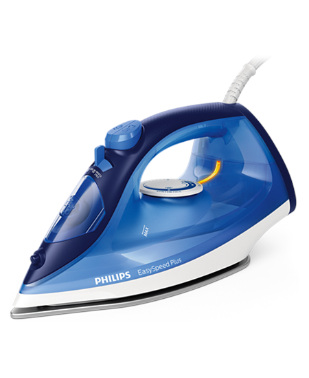 Philips Iron EasySpeed Plus  Blue, 2100 W, Steam iron, Continuous steam 30 g/min, Steam boost performance 110 g/min, Anti-drip f