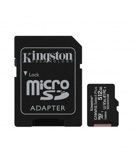 Kingston Canvas Select Plus 512 GB, Micro SD, Flash memory class 10, SD adapter